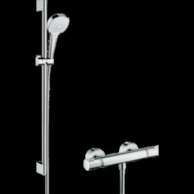 Hansgrohe Croma Select E Falsíkon kívüli zuhanyrendszer Vario 90 cm-es zuhanyrúddal és Ecostat Comfort termosztáttal (27082400)