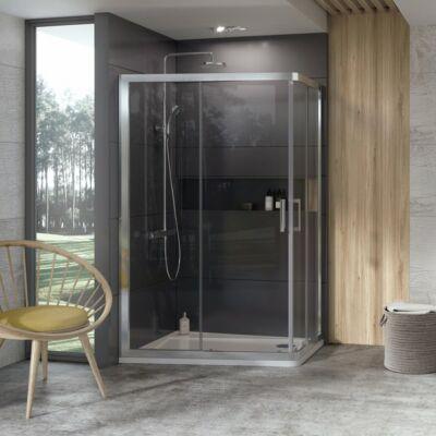 Ravak 10° 10AP4 zuhanykabinok 120x90 fehér, szatén, krómhatású kerettel, transparent edzett biztonságiüveg betéttel