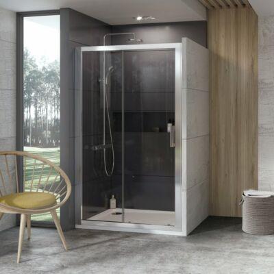 Ravak 10° 10DP2  zuhanyajtók fehér, szatén, krómhatású kerettel, transparent edzett biztonságiüveg betéttel