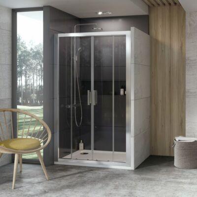 Ravak 10° 10DP4 zuhanyajtók fehér, szatén, krómhatású kerettel, transparent edzett biztonságiüveg betéttel