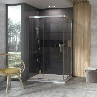 Ravak 10° 10RV2K + 10RV2K zuhanykabinok fehér, szatén, krómhatású kerettel, transparent edzett biztonságiüveg betéttel