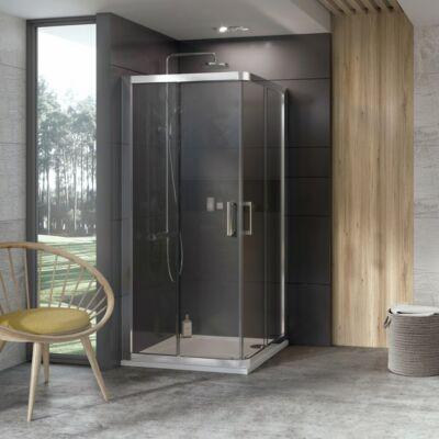 Ravak 10° 10RV2 zuhanykabinok fehér, szatén, krómhatású kerettel, transparent edzett biztonságiüveg betéttel