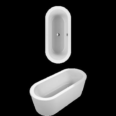 Villeroy & Boch Loop & Friends, Duo, 180x80 cm szabadon álló fürdőkád, a kád színével megegyező takarólappal, ovális külső és belső formával UBA180LFO7PDV-01