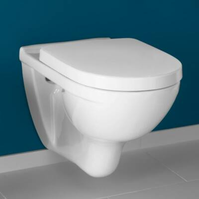 Villeroy & Boch O.novo perem nélküli, falra szerelhető, hátsó kifolyású WC (Ceramicplus Antibac 5660R0R1+T2) 5660R0T2