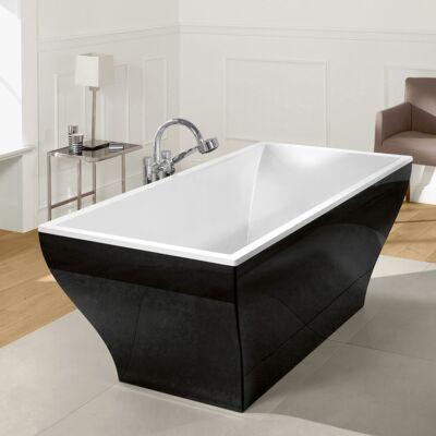 Villeroy & Boch La Belle szabadon álló fürdőkád, Quaryl panellel (Graphite Noir), krómozott le- és túlfolyóval 180x80 cm UBQ180LAB2PDT1V-01